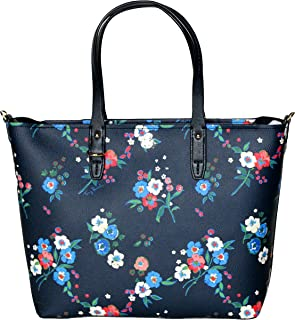 fb1a88893 Tory Burch Kerrington Small Zip Tote Leather Women's Handbag Pansy Bouquet