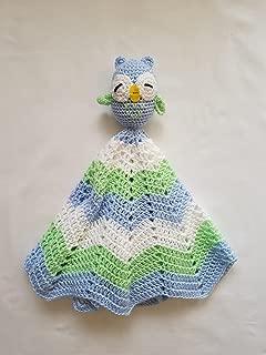 Crochet Boy Owl Lovey, Security Blanket, crochet blanket, Baby Shower Gift, Owl baby gift, photo prop, Owl nursery, baby, baby boy, newborn - Made to Order