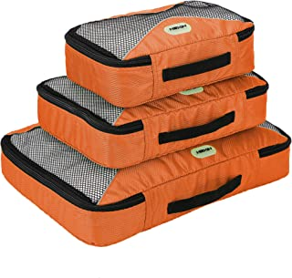 HEXIN Travel Packing Cubes,Travel Luggage Organizer,Orange Small,Medium, Large 3 Set