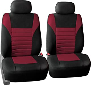 FH Group FH-FB068102 Premium 3D Air Mesh Seat Covers Pair Set (Airbag Compatible), Burgundy/Black Color- Fit Most Car, Truck, SUV, or Van