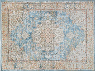 Amazon Com Madison Park Lexington Medallion Woven Turkish Area Rugs For Living Room Indoor Dining Accent Modern Home Décor Ultra Soft Floor Carpets For Bedroom 8x10 Ft Distressed Blue Bohemian Furniture Decor