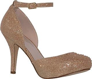ad212a50e080 MVE Shoes Womens Stylish Sparkle Closed Toe Ankle Strap Dress Shoes