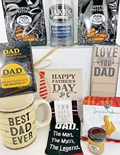 Father's Day Gift Box Basket - Send Your Happy Fathers Day Wishes To Dad Father Pops Papa Grandpa Stepdad Today With This Loving Mug, Notepad, Pair of Socks, Tape Measure & Delicious Snacks! PRIME