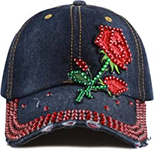 The Hat Depot 200 Bling Jewel Rhinestone Rose Patch Washed Denim Baseball Cap