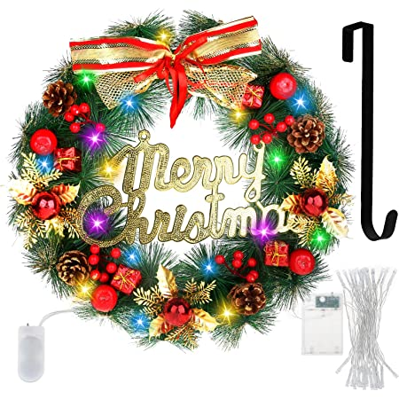 Amazon Com Christmas Wreath Artificial Merry Christmas Hanging Wreath Red Berry Wreath With Wreath Hanger Battery Operated Led Strip Light Christmas Decorations Wreath For Front Door Window Wall Indoor Outdoor Home Kitchen