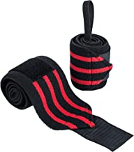 Ultrasport 331500000693 Polsbandage, Zwart/Rood, 2 X 65 Cm Polsbandage Voor Fitness, Bodybuilding, Krachtsport, Powerlifti...