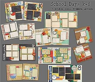 School Days K-8 Scrapbook Set - 9 Double Page Layouts