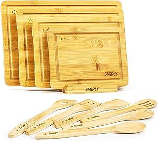 Smirly Bamboo Cutting Board Set: Wood Cutting Boards for Kitchen, Wood Cutting Board Set, Chopping Board Set, Wooden Cutti...