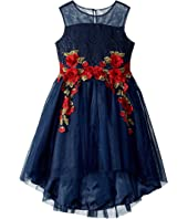 Nanette Lepore Kids - Sequin and Mesh Bodice with Embroidery on High-Low Hem Dress (Little Kids/Big Kids)