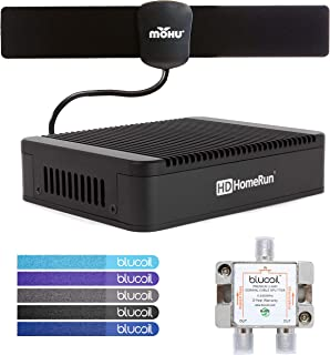 SiliconDust HDHomeRun Extend HDTC-2US-M Dual Tuner with H.264 Transcoder Bundle with Mohu 25 Mile Indoor HDTV Antenna, Blucoil 2-Way TV Coaxial Cable Splitter and 5-Pack of Reusable Cable Ties