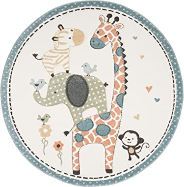 "Safavieh Carousel Kids Collection CRK120A Animal Nursery Playroom Area Rug, 5'3"" x 5'3"" Round, Ivory"