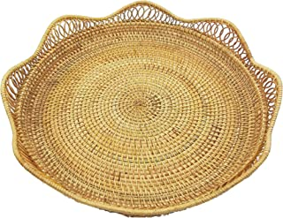 "Vietnamese Handmade Rattan Round Tray. Rattan 15.8"" Diameter Disc. Tray Containing Fruits, Vegetables, Food, etc. Natural Rattan Basket."