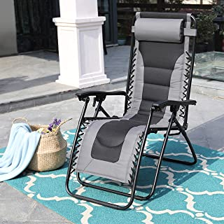 PHI VILLA Zero Gravity Chair Padded Recliner Adjustable Lounge Chair with Free Cup Holder (Grey)