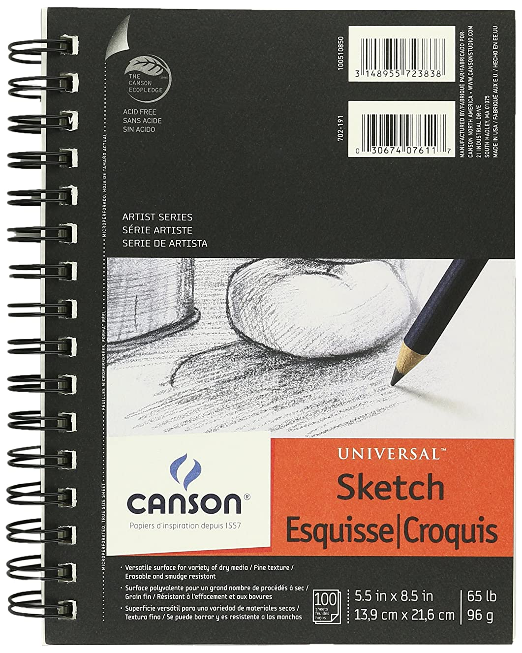 "Canson Artist Series Universal Sketch Pad, 5.5"" x 8.5"", Side Wire Bound, 100 Sheets, (3-Pack)"