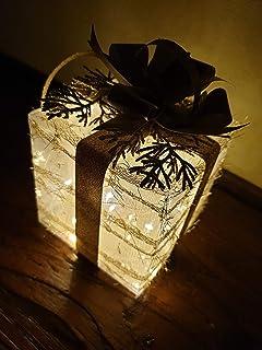 Pacchetto Illuminato Pacchetto Regalo Natale oro, Idea Regalo Decorativa per Natale, Capodanno, Compleanno, Albero di Natale