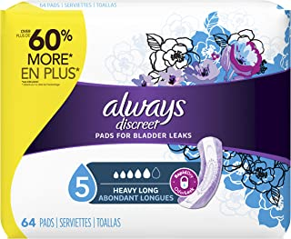 Always Discreet Incontinence Pads for Women, Heavy Absorbency, 64 Count, Long Length (64 Count)
