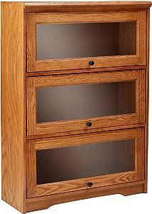 """Eagle Oak Ridge 3 Door Lawyer Bookcase, 32"""" Wide, Medium Oak Finish"""