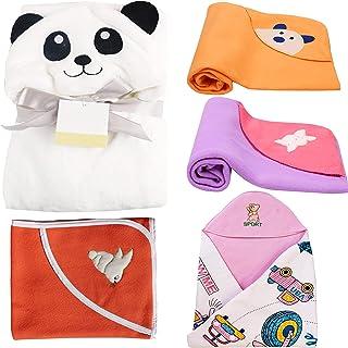 MY NEWBORN Baby Blanket Hooded Wrapper Fleece Towels-Value Hamper Pack of 5