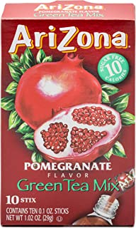 AriZona Pomegranate Green Tea Iced Tea Stix Sugar-Free, 10 Count Box (Pack of 1), Low Calorie Single Serving Drink Powder Packets, Just Add Water for a Deliciously Refreshing Iced Tea Beverage