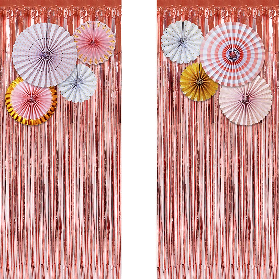 Rose Gold Metallic Tinsel Foil Fringe Curtains (Set of 2) - Party Photo Booth Backdrop + 8 Paper Fans Flower Hanging Banner - Party Decorations Supplies Set for Bachelorette Birthday Bridal Shower