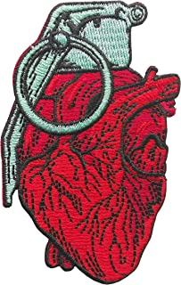 Funny Heart Grenade Patch for Jean Jackets Cool Patches for Clothes Sew Patches for Backpacks
