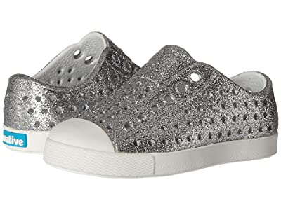 Native Kids Shoes Jefferson Bling Glitter (Toddler/Little Kid) (Silver Bling/Shell White) Girls Shoes