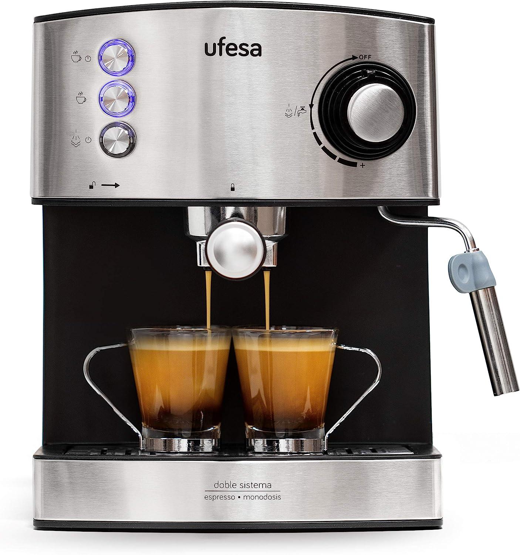 Ufesa CE7240 Cafetera Expresso y Capuccino, Vaporizador Orientable, 20 Bares, 2 Modos: Café Molido o Monodosis, Depósito 1.6L, Función Calienta Tazas, 850W, Inox