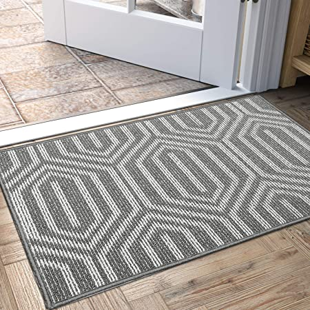 Indoor Doormat 24 X 36 Absorbent Front Door Mat Rubber Backing Non Slip Door Mats Inside Dirt Trapper Mats Entrance Front Door Rug Shoes Mat Machine Washable Carpet Grey Home Kitchen
