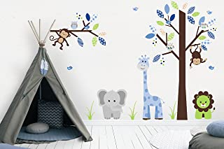 Baby Boys Nursery Decals | Blue Colors | Jungle Themed Stickers | Kids Playroom Decoration | Gray Elephant | Giraffe | Lion | Tree | Branch | Large Tree | Spotted Leaves