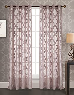 RT Designers Collection Knox Jacquard 54 x 84 in. Grommet Curtain Panel, Mauve
