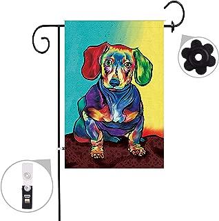 Jul Sausage Dog Dachshund Inspirational Season House Garden Flags Semi Transparent Polyester Fiber 12 X 18 Decorative