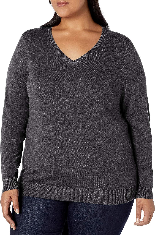 Amazon Essentials Women's Plus Size Lightweight V-Neck Sweater
