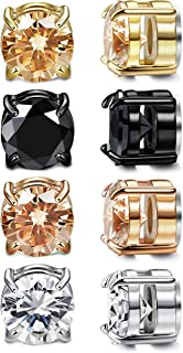 4 Pairs Unisex Round CZ Inlaid Magnetic Earrings Non-Piercing Clip On Stud Earrings 4 Mixed Colors