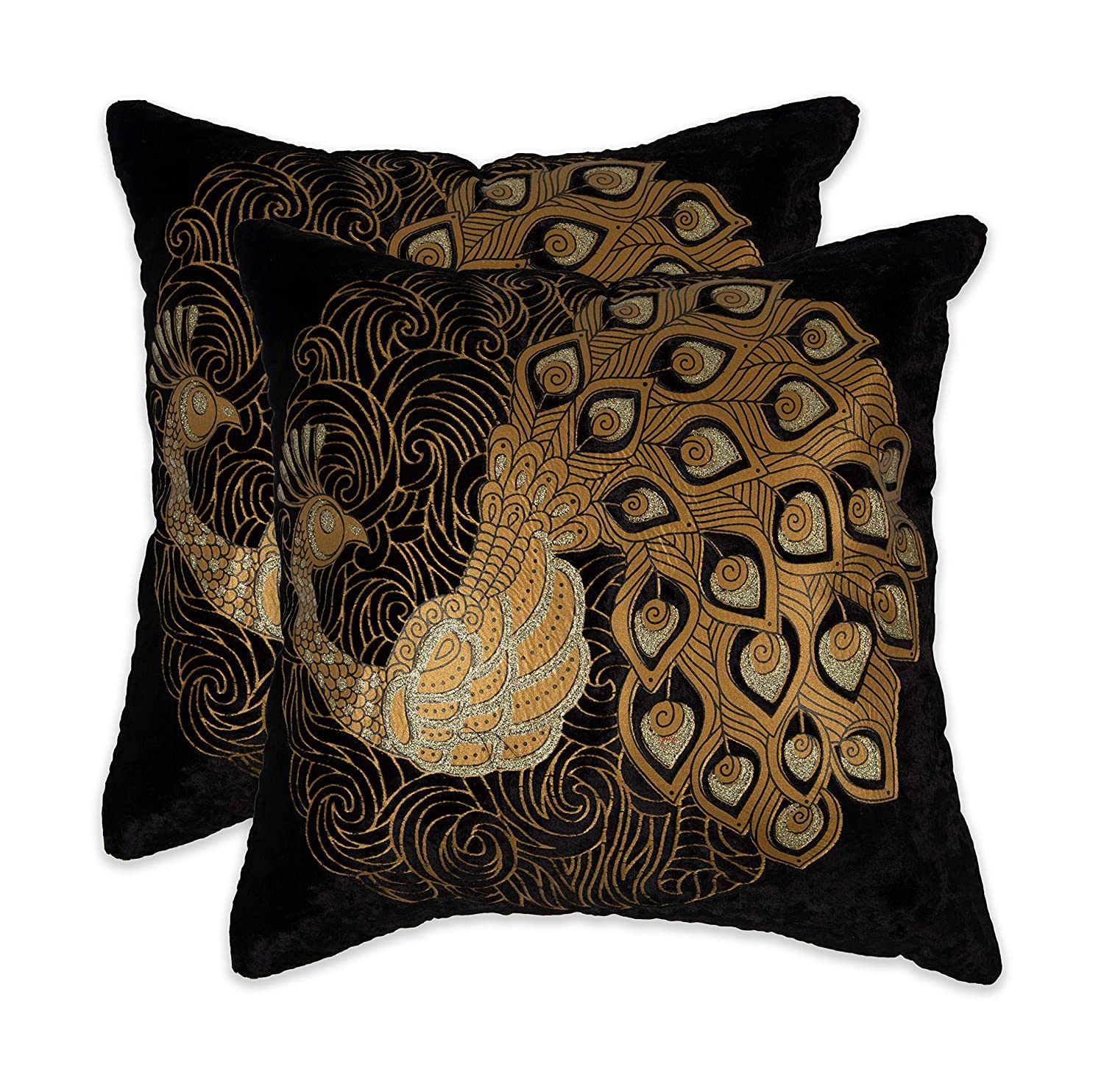 """Buy NEHA HANDICRAFTS Silk & Velvet 2 Piece Decorative Beautiful Peacock  with Embossed Golden Zari Sofa Cushion Covers - 16"""" x 16"""", Black Online at  Low Prices in India - Amazon.in"""