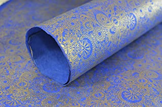 Kathmandu Valley Co. Wrapping Paper Handmade from Tree-Free Lokta Paper. Reusable Gift Wrap 10 Sheets 20x30 inches. Made in Nepal. (Royal Henna)