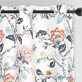 DriftAway Ada Floral Botanical Print Flower Leaf Lined Thermal Insulated Room Darkening Blackout Grommet Window Curtains 2 Layers Set of 2 Panels Each 52 Inch by 84 Inch Ivory Blue Blush and Gray