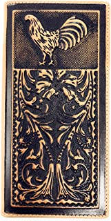 Genuine Leather Basketweave Floral Tooled Rooster Mens Long Bifold Wallet 2 colors (Brown)
