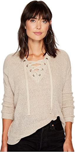 Jack by BB Dakota - Willard Marled Sweater with Lace-Up Detail