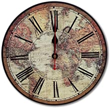 RELIAN 12-Inch Vintage Decorative Silent Non Ticking Wall Clock for Living Room Kitchen Bathroom Bedroom