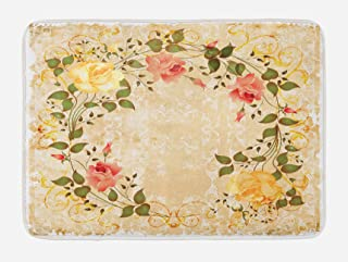 Ambesonne Vintage Bath Mat, Oval Shape Floral Crown with Leaves and Roses Over Damask Motif Shabby Boho, Plush Bathroom Decor Mat with Non Slip Backing, 29.5