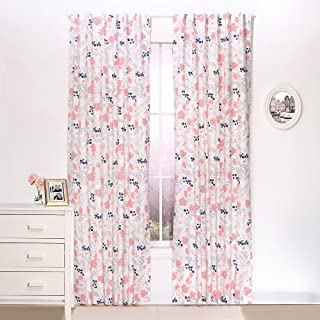 Coral and Navy Floral Blackout Window Drapery Panels - Two 84 by 42 Inch Panels
