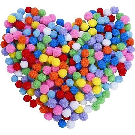 Pompons Artisanat élastique mini pompons décorations boules pour fournitures de loisirs 2.5cm assortis de couleur pour les enfants bricolage artisanat créatif (300 pièces)