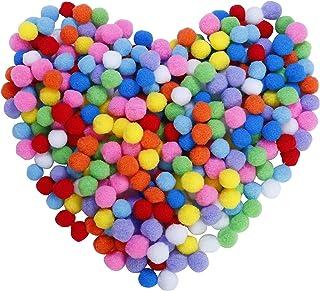 Pompons Artisanat élastique mini pompons décorations boules pour fournitures de loisirs 2.5cm assortis de couleur pour les...