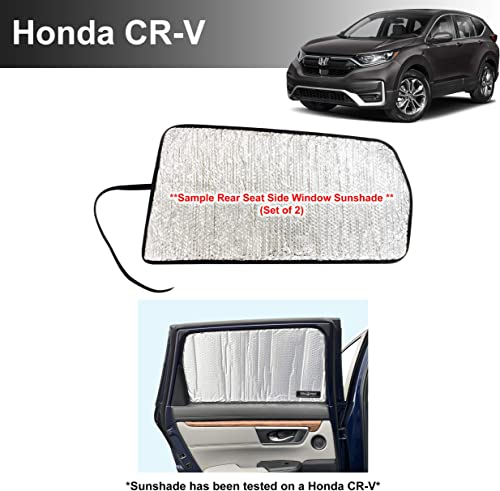 high quality Side Window Rear Seat Sunshade Custom Fit for 2017 2018 2019 2020 2021 lowest Honda CR-V CRV LX, EX, popular EX-L, EX-L Navi, Touring SUV, UV Reflector Sun Protection Accessories (Set of 2) -Made in USA sale