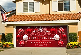 Victory Corps Outdoor Christmas Holiday Garage Door Banner Cover Mural Décoration 7'x16' - Red Ornaments in Snow Outdoor Christmas Holiday Garage Door Banner Décor Sign 7'x16'