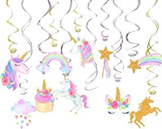 klmars 30 Ct Unicorn Hanging Swirl Decorations-Unicorn Party Decorations-Unicorn Birthday Party Supplies