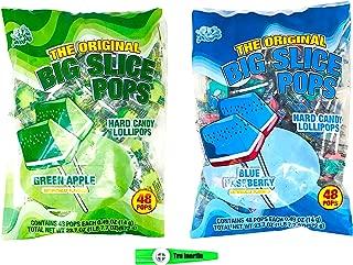 Albert's Big Pop Slice Variety - Blue Raspberry and Green Apple 48 Lollipops Each (96 total) with Tru Inertia Kazoo