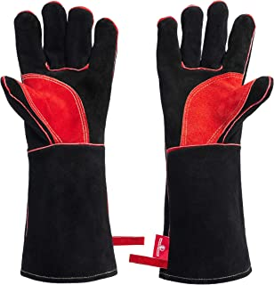 HereToGear Welding Gloves - 16 IN - Fireproof and Heat Resistant - Great for Fireplace, Fire Pit, Wood Stove and Blacksmith Tools