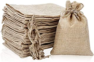 (50 Bags) Burlap Bags with Drawstring 10 x 14 cm Hessian Jute Bags for Birthday Gifts, Wedding Party Favors, Candy and Jew...