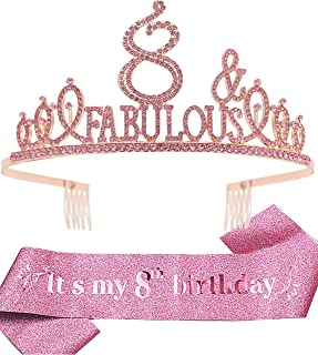 8th Birthday Gifts for Girl,8th Birthday Tiara and Sash Pink,8th Birthday Decorations Party Supplies,It's My 8th Birthday ...